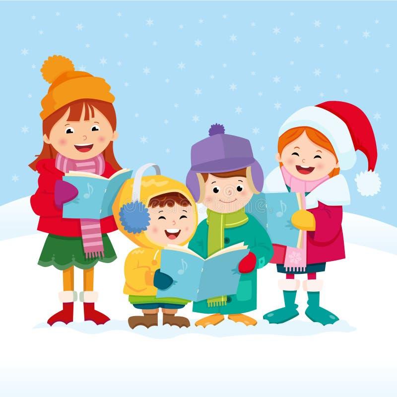 Julsångsångare royaltyfri illustrationer