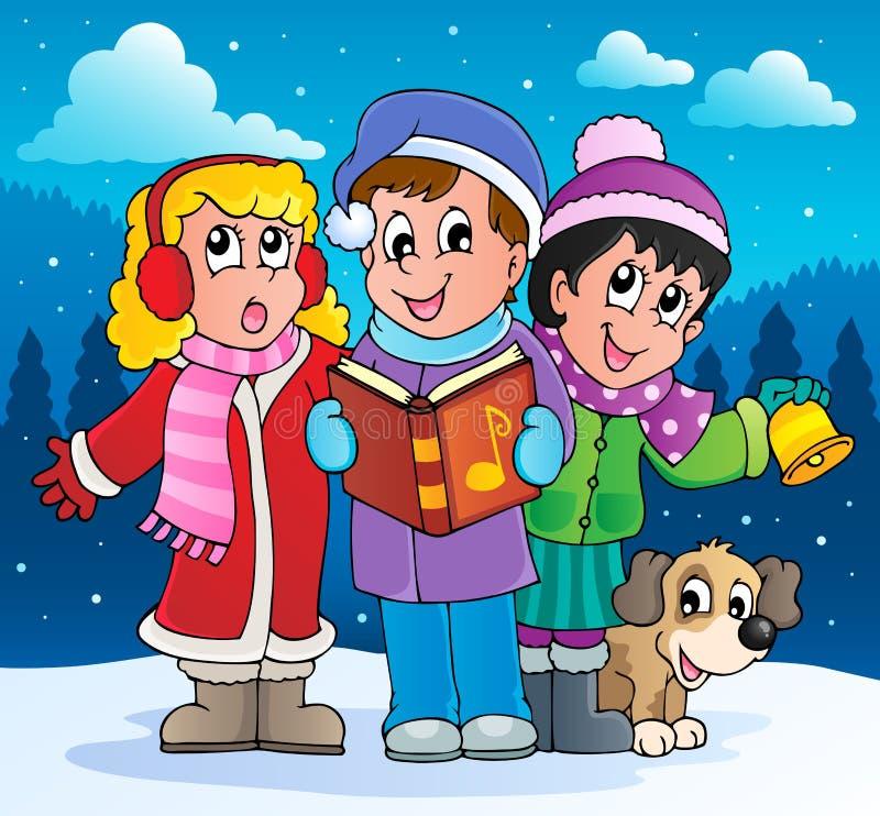 Julsångsångaretema 2 vektor illustrationer