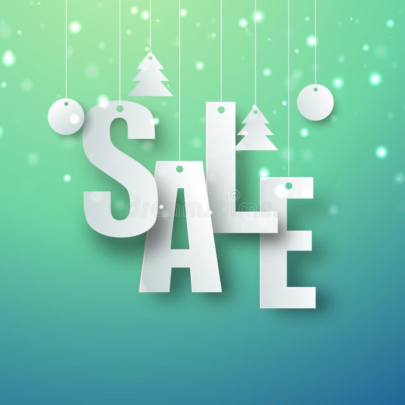 JulSale affisch, baner eller reklambladdesign royaltyfri illustrationer