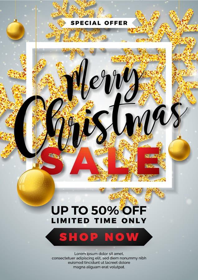 JulSale design med den dekorativa bollen och blänkte snöflingor på vit bakgrund Ferievektorillustration royaltyfri illustrationer