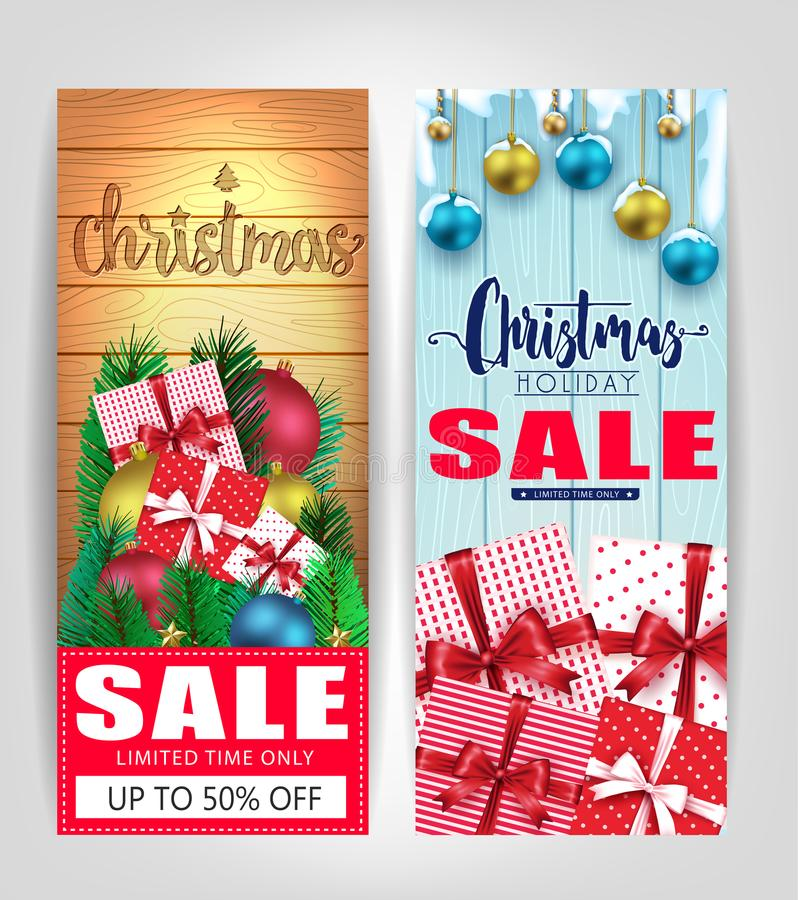 JulSale etiketter eller affischuppsättning med träbakgrund för olik färg stock illustrationer