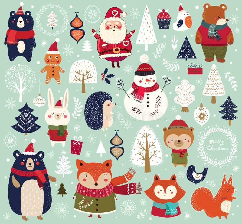 Julsamling med gulliga djur royaltyfri illustrationer