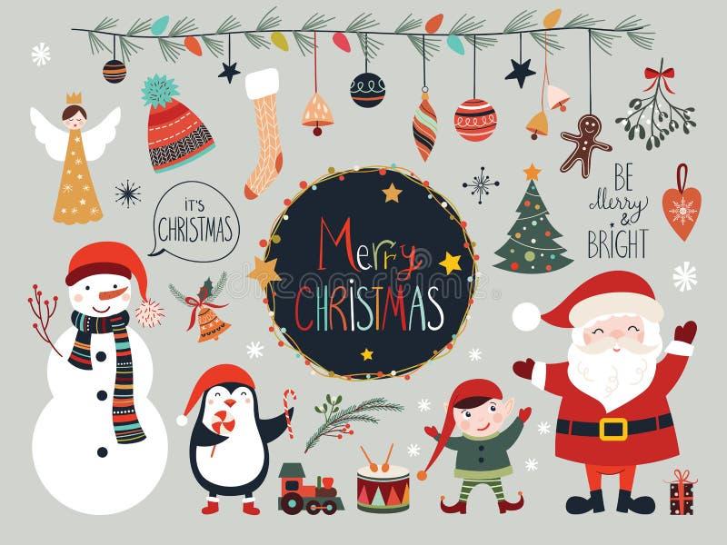 Julsamling med säsongsbetonade beståndsdelar, jultomten och snögubben vektor illustrationer