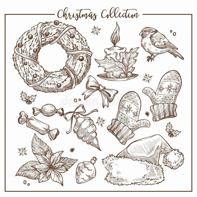 Julsamlingen av symbolisk traditionell beståndsdelmonokrom skissar översiktsvektorn stock illustrationer