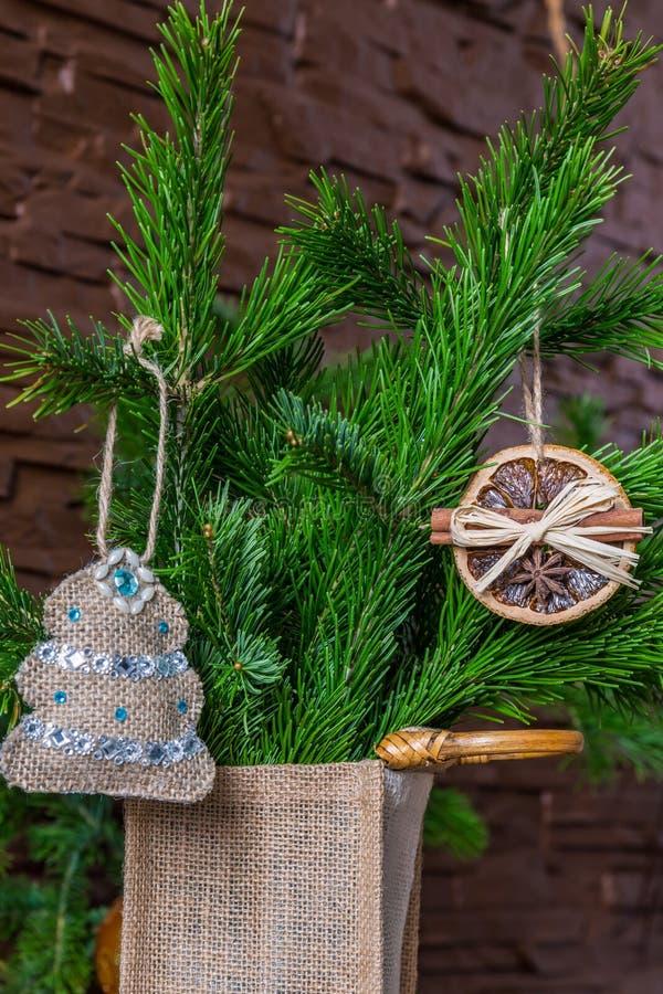 Julsammansättning av torra orange skivor och kanelbruna pinnar och en julgran på en filial royaltyfria foton