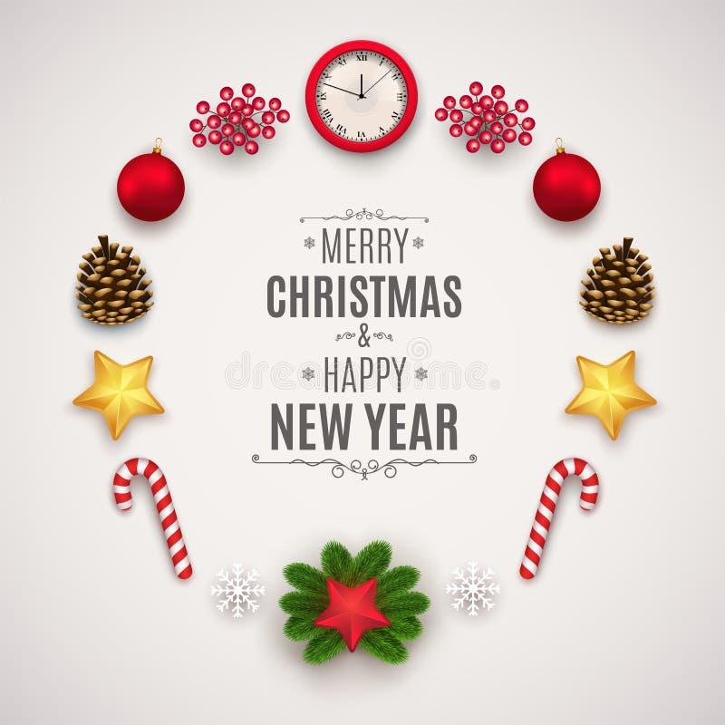 Julsammansättning med festliga beståndsdelar Julbollar, kottar, klockor, stjärnor, sörjer filialer och bär stock illustrationer