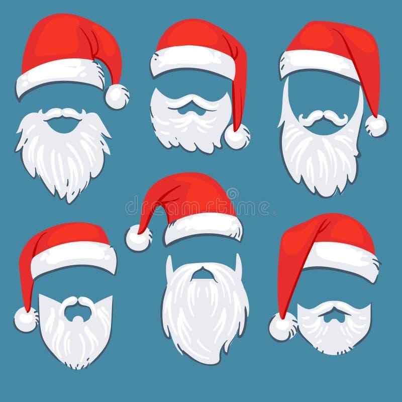 JulSanta Claus ställde röda hattar in med den vita mustasch- och skäggvektorn stock illustrationer
