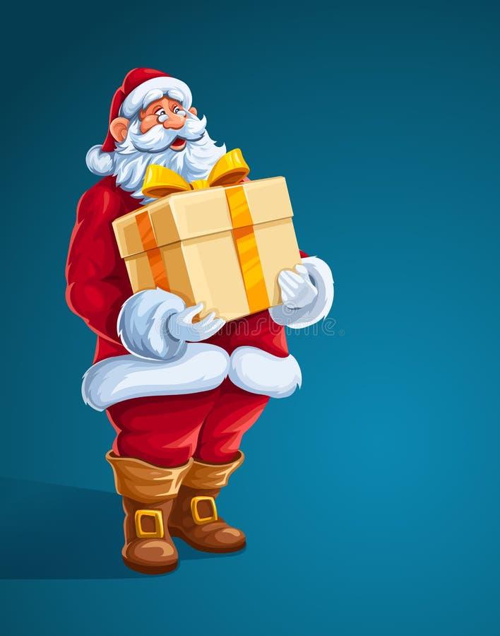JulSanta Claus stor gåva i händer royaltyfri illustrationer