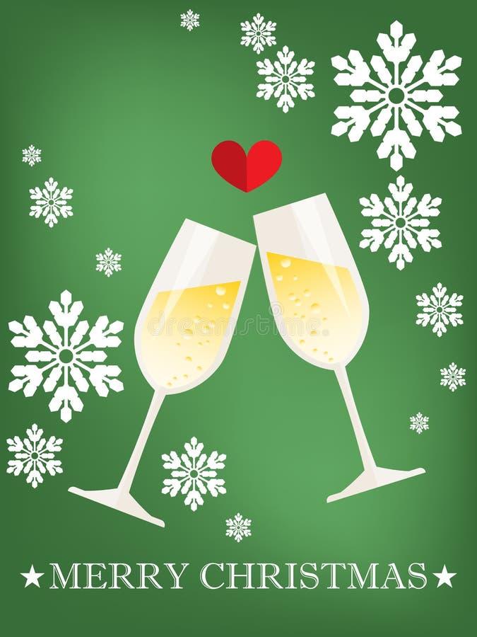 Julsemesterperiodbakgrund av två exponeringsglas av champagne i plan design med röd hjärta stock illustrationer