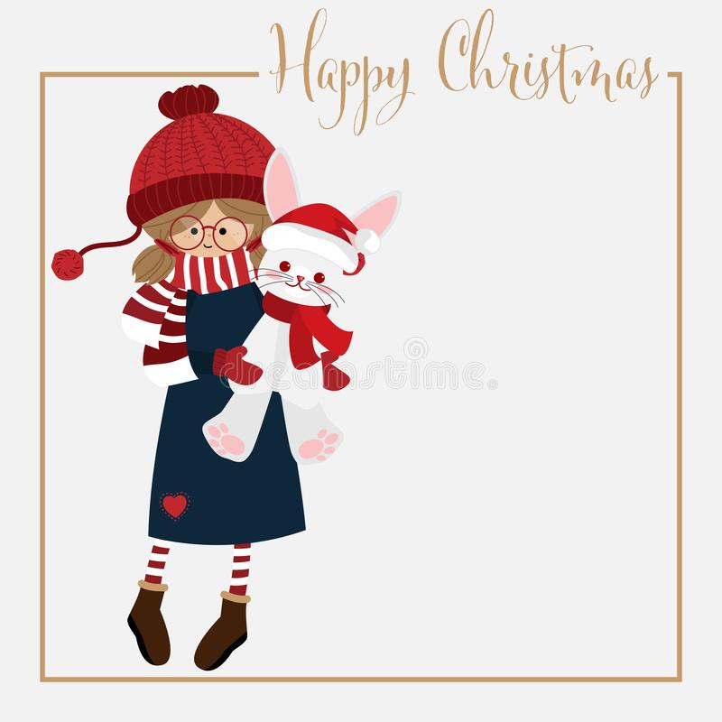 Julsemesterperiodbakgrund med den gulliga flickan i vinteregen stock illustrationer