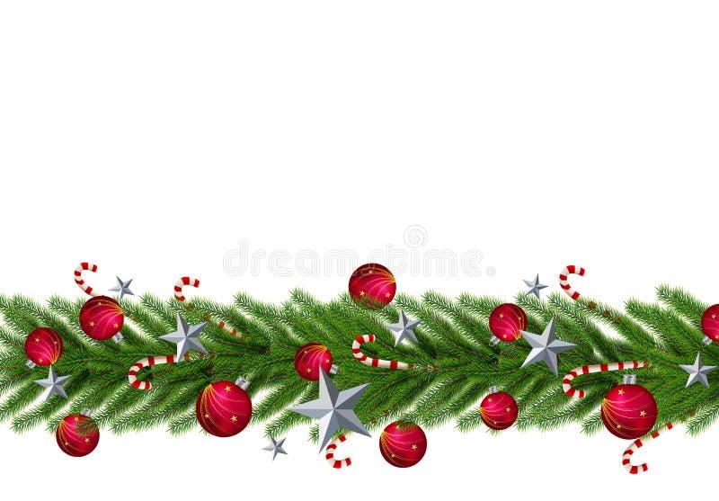 Julsidor med en realistisk julgrandurk på en röd bakgrund Stjärnan boll, gör perfekt för ord royaltyfri illustrationer