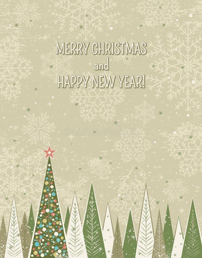 Julskog över grungebakgrund, vektor royaltyfri illustrationer
