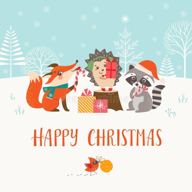 Julskogsmarkvänner i vinterskog stock illustrationer