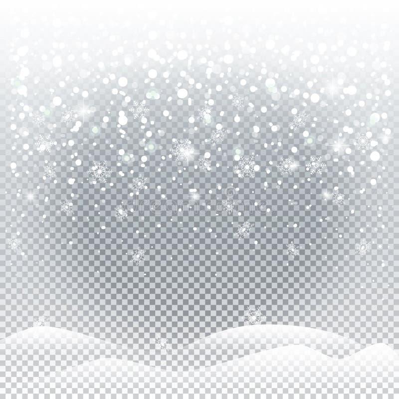 Julsnöfall royaltyfri illustrationer