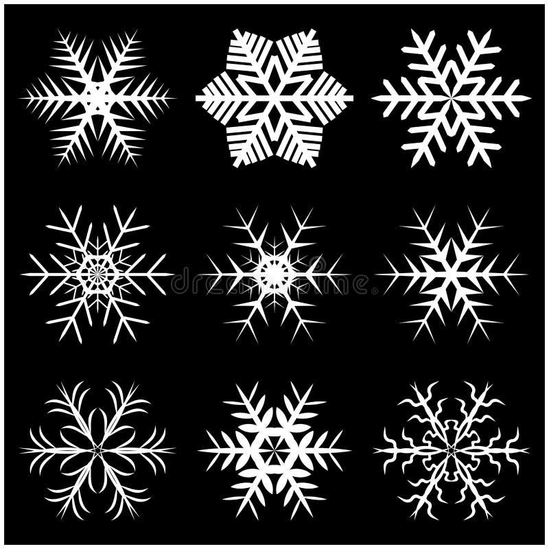 Julsnöflinga, fryst flingakontursymbol, symbol, design Övervintra den crystal vektorillustrationen som isoleras på den svarta bac stock illustrationer