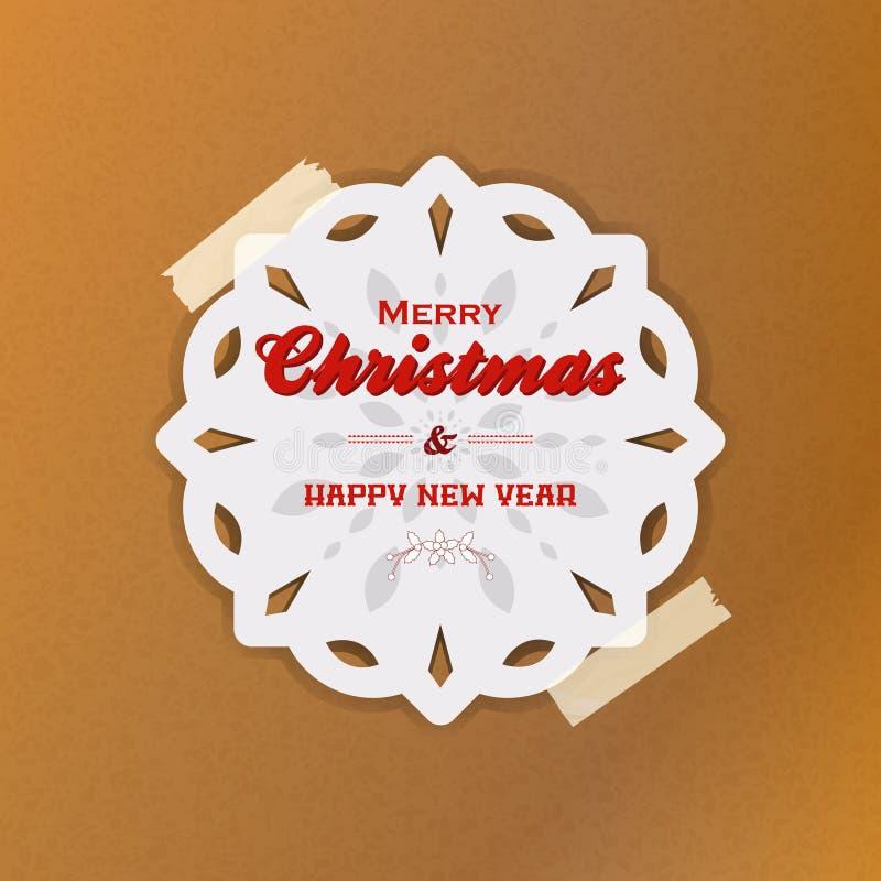 Julsnöflinga med tejp på brunt papper royaltyfri illustrationer