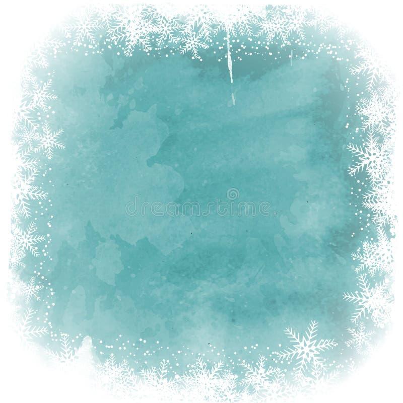 Julsnöflingagräns på vattenfärgbakgrund stock illustrationer