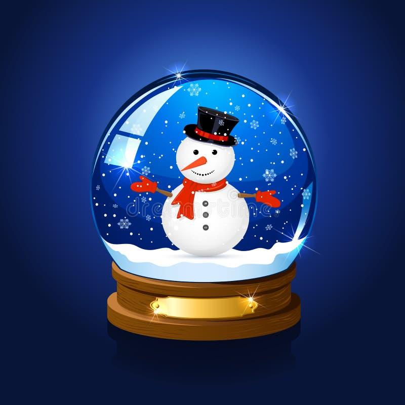 Julsnöjordklot med snowmanen royaltyfri illustrationer