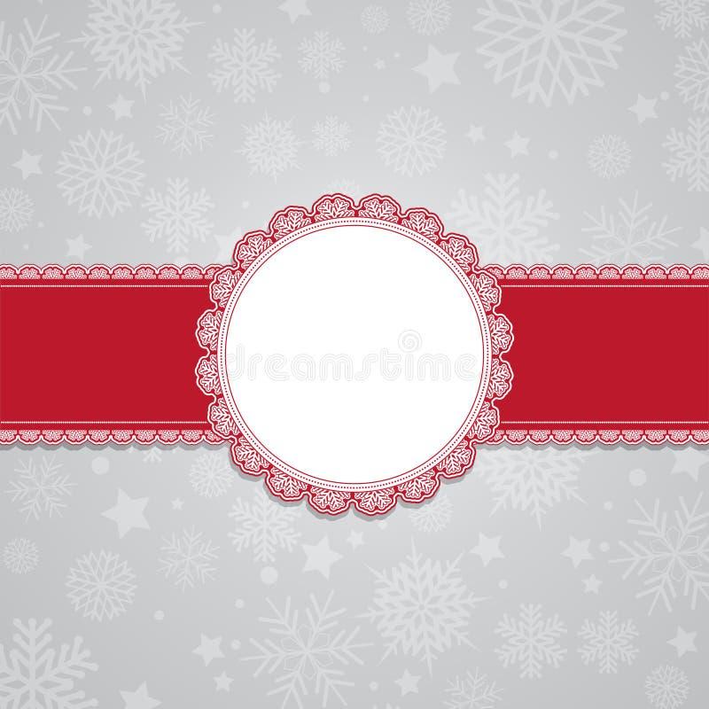 Julsnowflakebakgrund med den blanka etiketten vektor illustrationer
