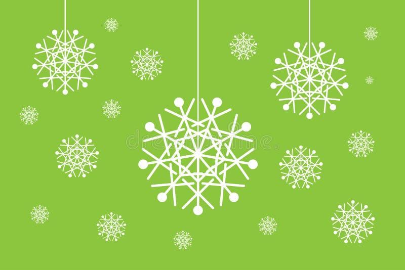 Julsnowflakejordklot ställde in isolerat på green royaltyfri illustrationer