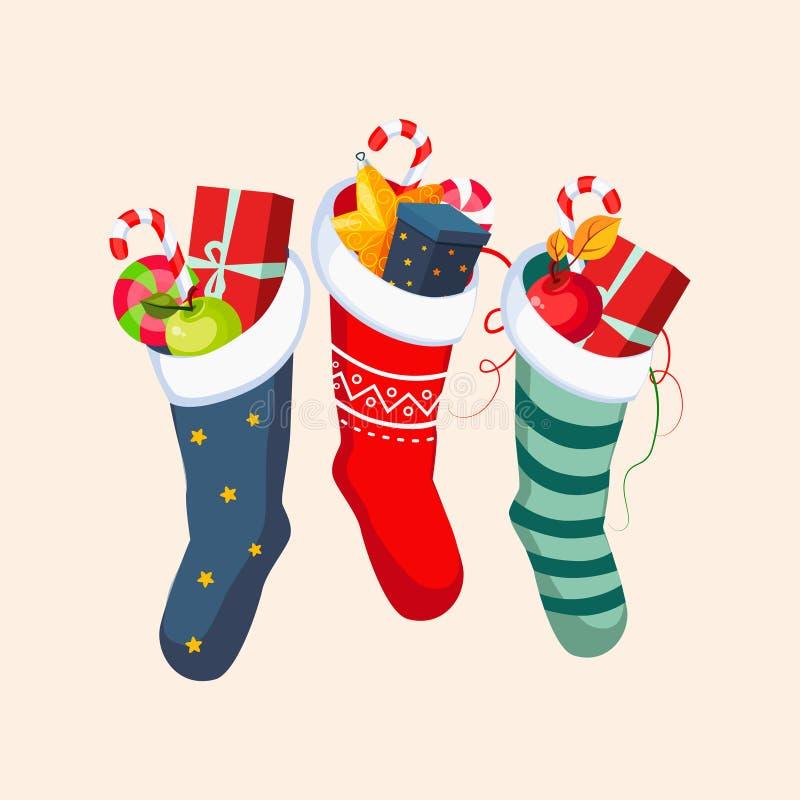 Julsockor med gåvor också vektor för coreldrawillustration stock illustrationer