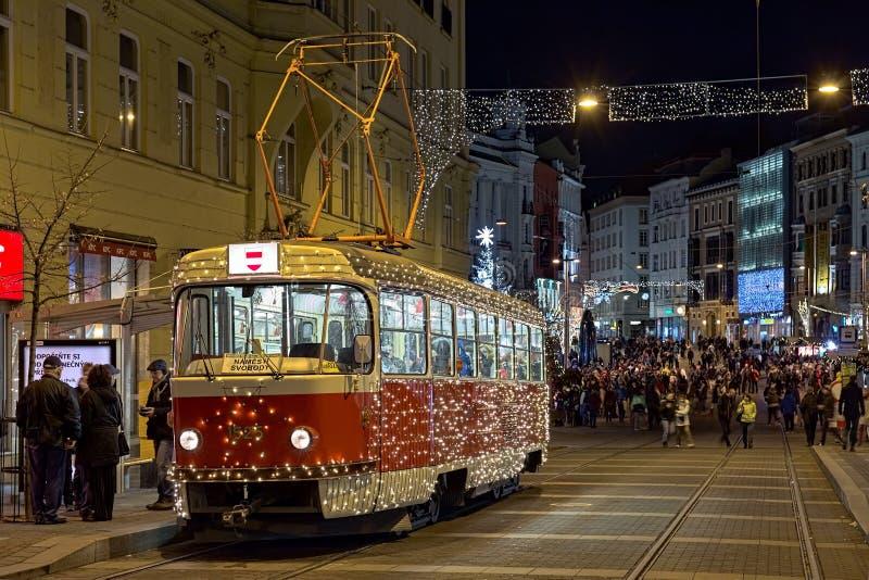 Julspårvagn i Brno, Tjeckien royaltyfria foton