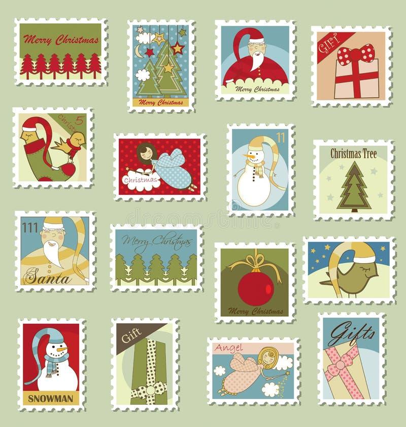 julstämplar royaltyfri illustrationer