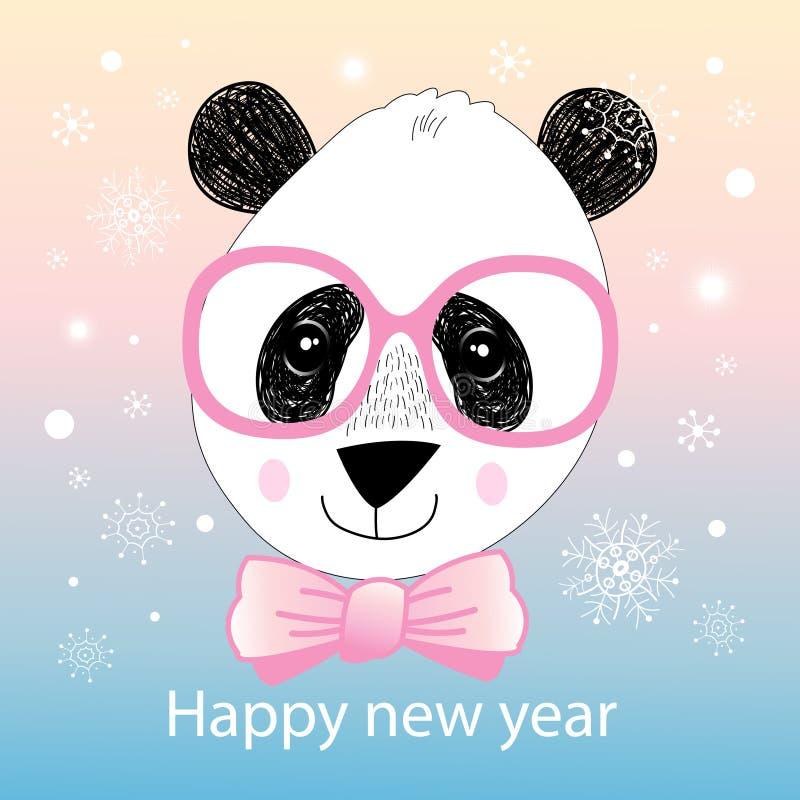 Julstående av en panda stock illustrationer