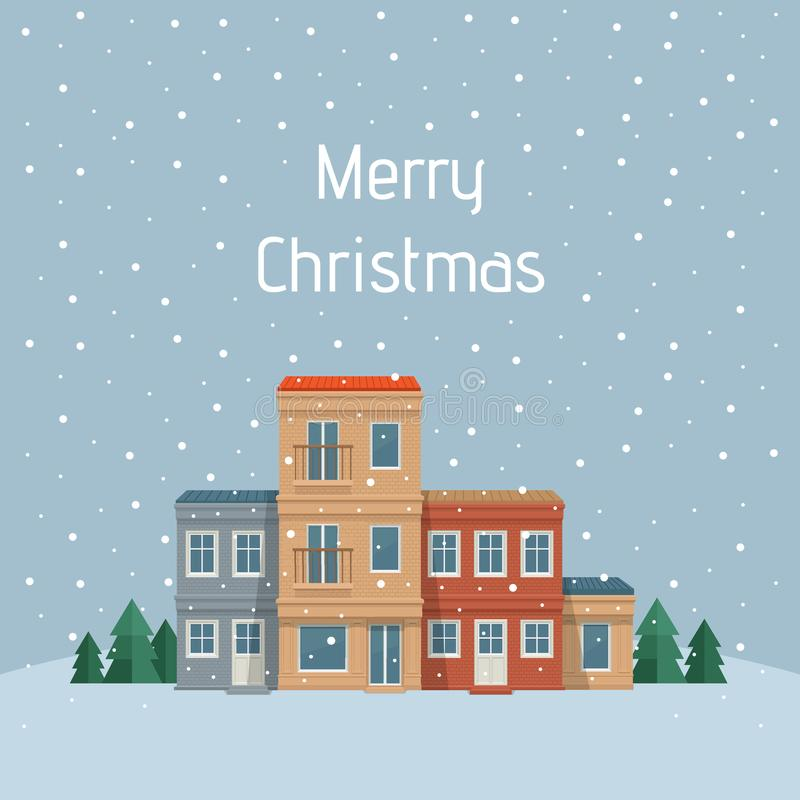 Julstad Gata med huset, främre sikt gata för bakgrundsstadsnatt vektor illustrationer
