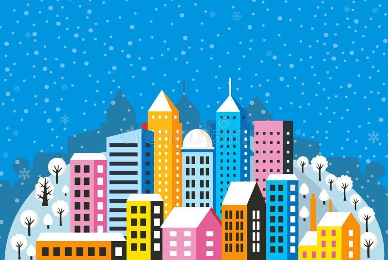 Julstadvinter vektor illustrationer