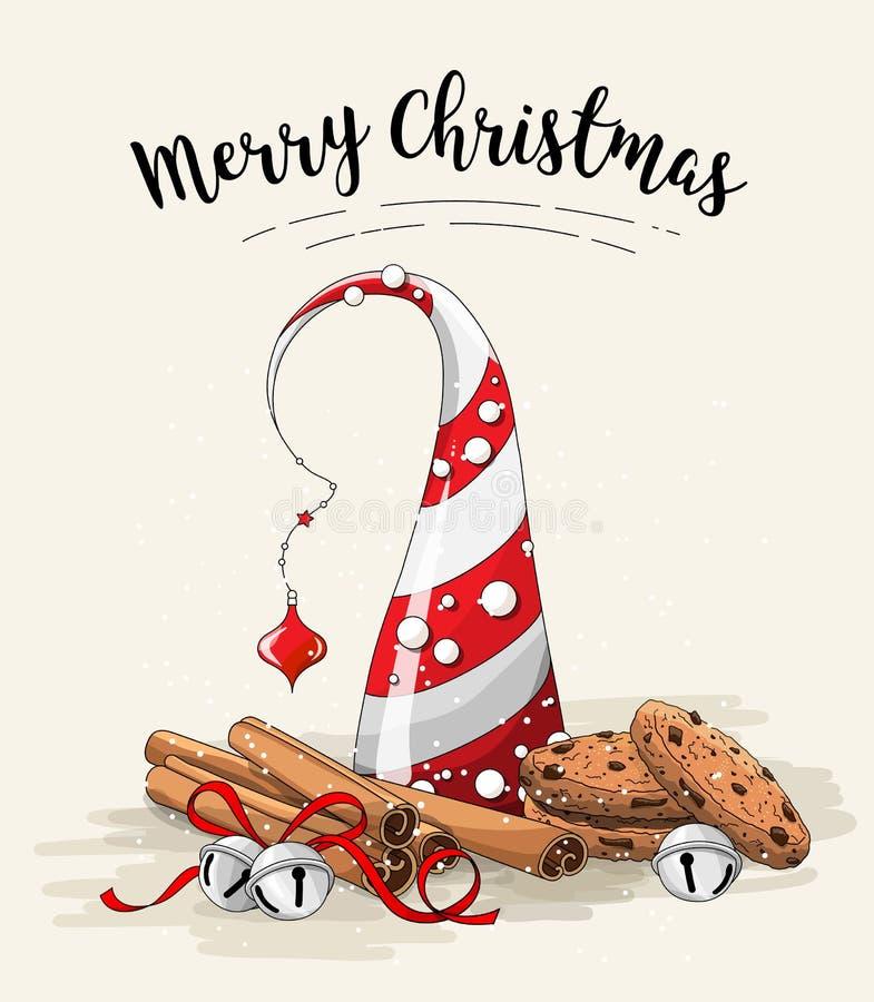 Julstilleben, bruna kakor, abstrakt julträd, kanelbruna pinnar och klirrklockor på vit bakgrund stock illustrationer