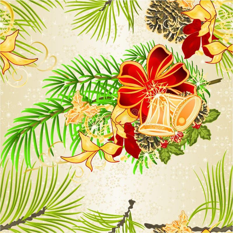Julstjärna för träd för jul för sömlös texturjul och för nytt år dekorativ festlig och att sörja kottar och prydlig trädpilbåge o stock illustrationer