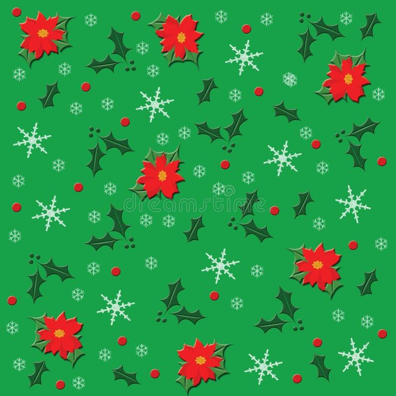 Julstjärna och snö vektor illustrationer