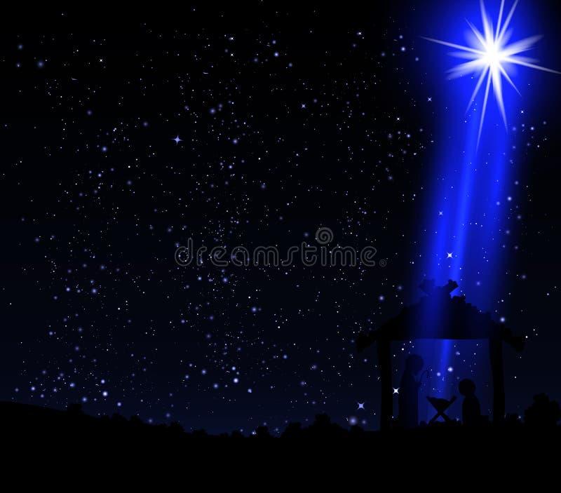 Julstjärna på kojan av Jesus Christ royaltyfri illustrationer