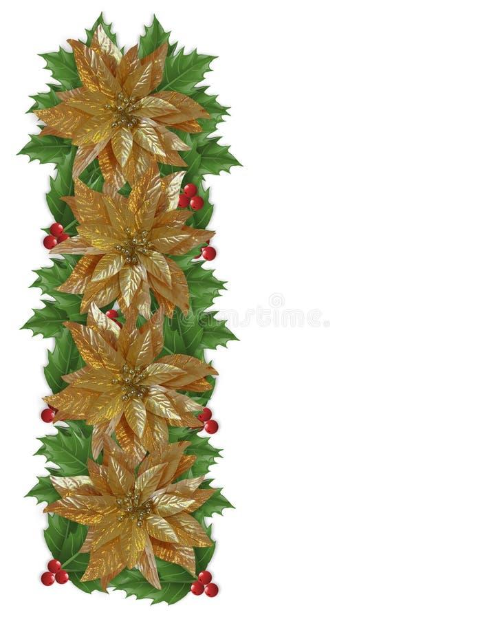 julstjärnor för järnek för kantjulguld stock illustrationer