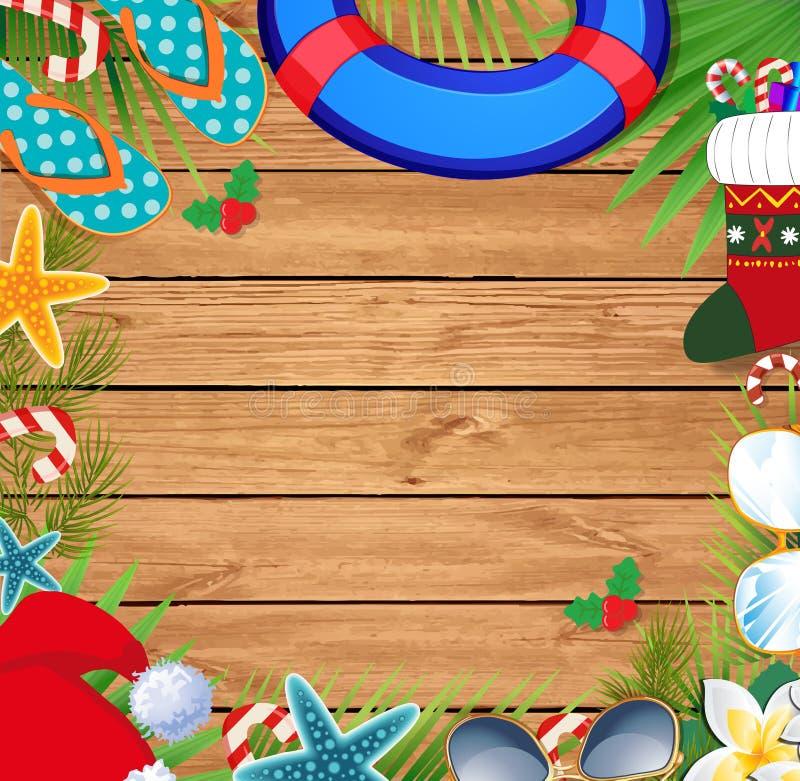 Julstrandgräns med kopieringsutrymme royaltyfri illustrationer