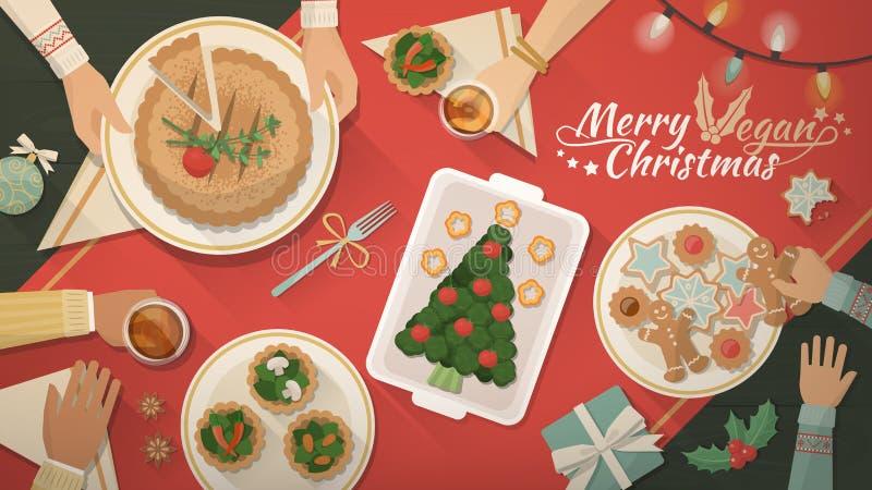 Julstrikt vegetarianmatställe vektor illustrationer
