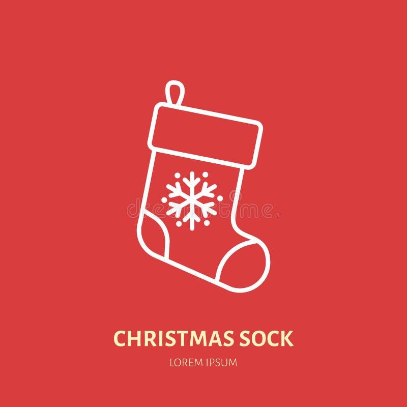 Julstrumpa socka, för garneringlägenhet för nytt år linje symbol Illustration för vektor för vinterferier, tecken för beröm stock illustrationer
