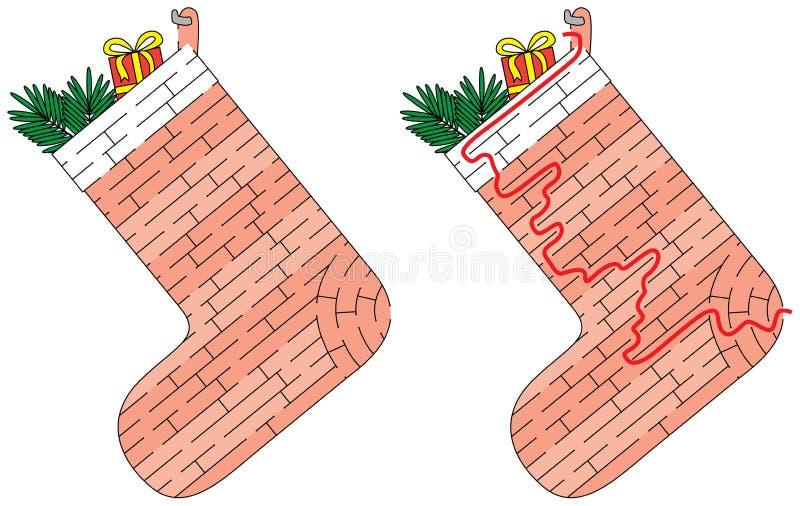 Julstrumpalabyrint vektor illustrationer