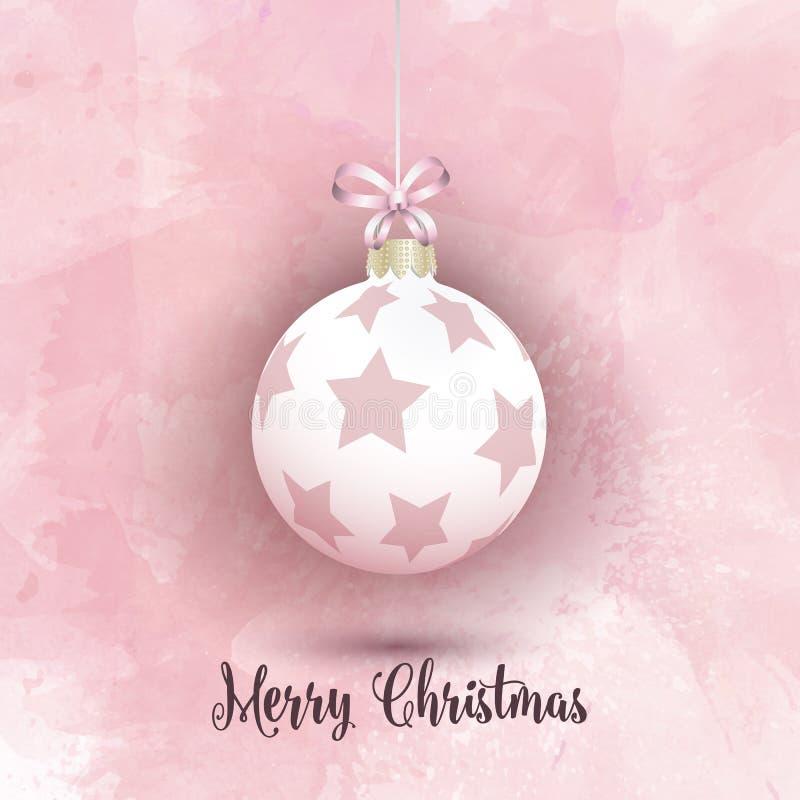 Julstruntsak på en rosa vattenfärgbakgrund vektor illustrationer