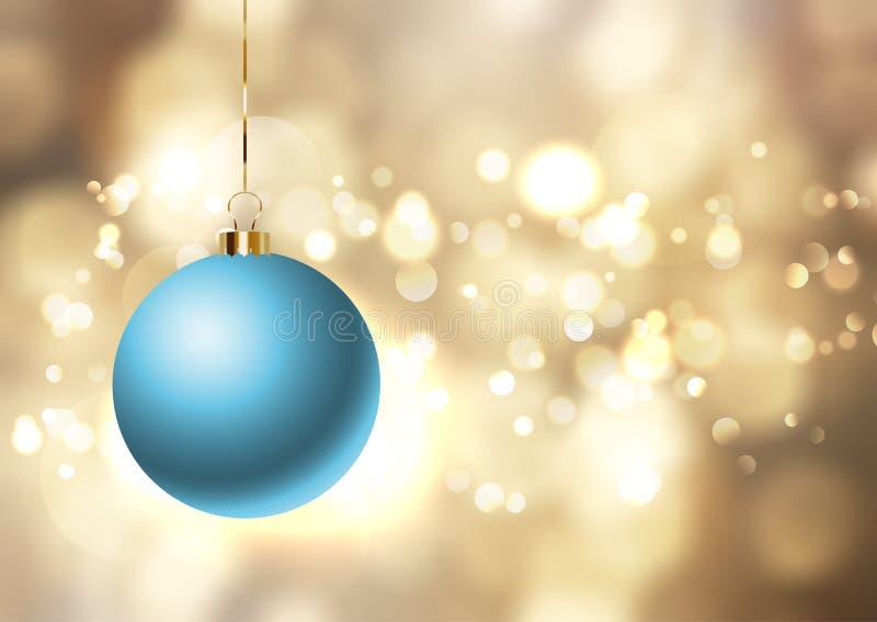Julstruntsak på guld- ljusbakgrund royaltyfri illustrationer