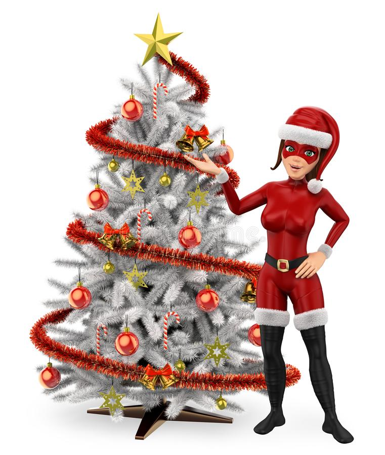 julsuperhero för kvinna 3D med ett träd för vit jul stock illustrationer