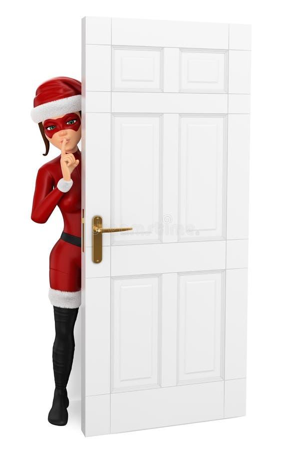 julsuperhero för kvinna som 3D döljas bak stänga sig för dörr stock illustrationer