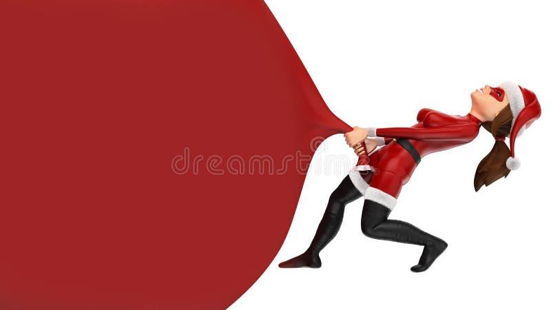 julsuperhero för kvinna som 3D drar en enorm gåvapåse _ royaltyfri illustrationer