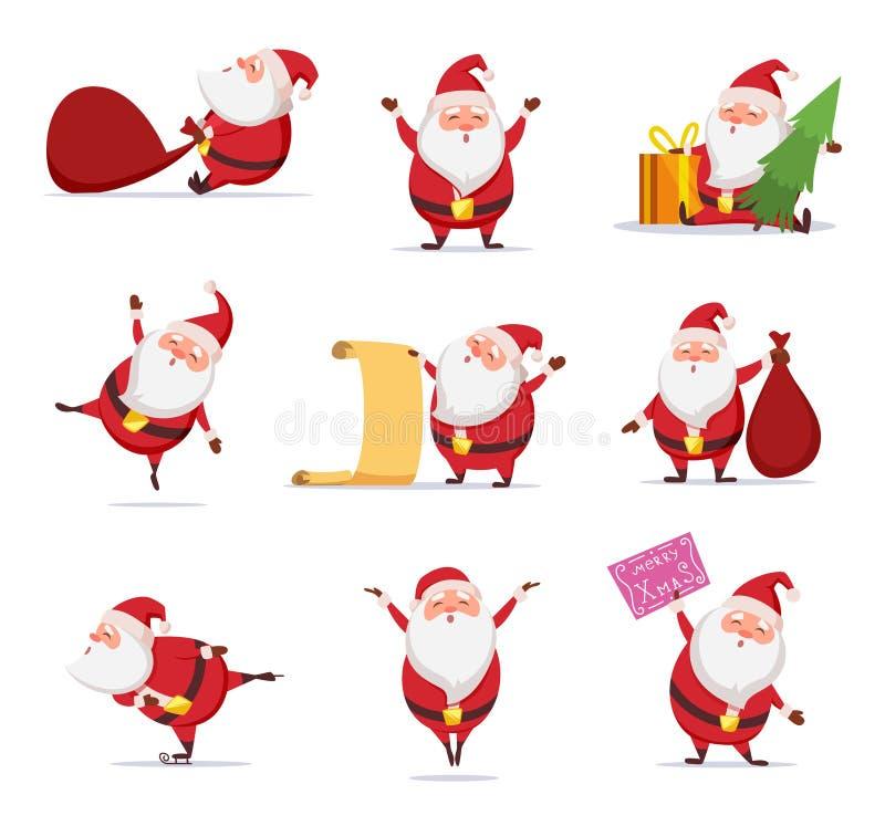 Julsymboler av roliga gulliga santa Den olika teckenuppsättningen i dynamiskt poserar stock illustrationer
