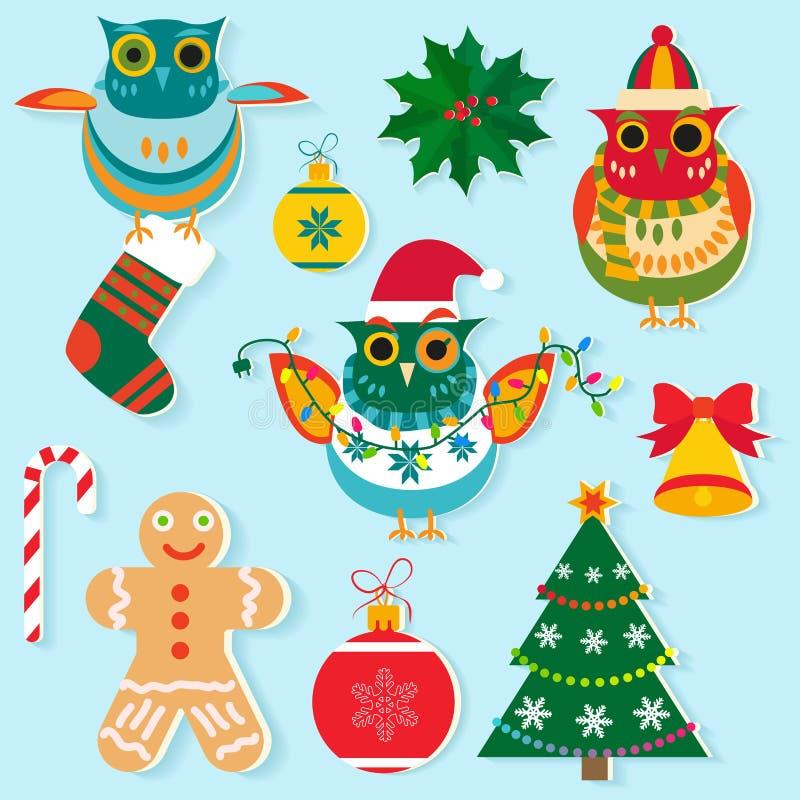 Julsymboler, lägenhetfärgdesign Beståndsdelar för nytt år, objekt, feriegarnering toys för spheres för bakgrundsjul exponeringsgl stock illustrationer