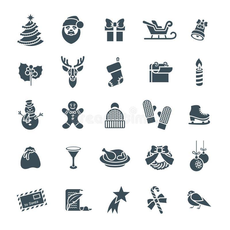 Julsymboler sänker uppsättningen för vektorkontursymboler vektor illustrationer