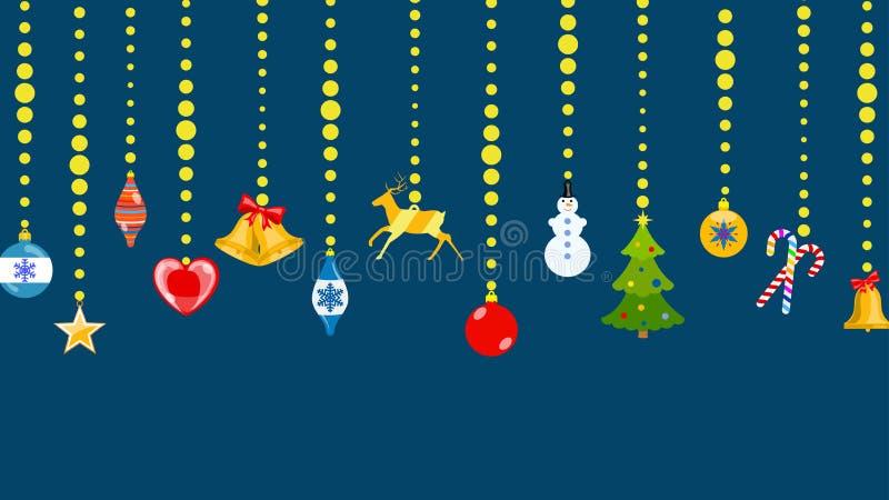 Julsymboler som hänger på rep av bollar royaltyfri illustrationer