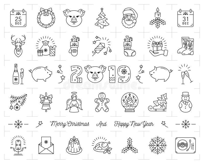 Julsymboler ställde in, kinesisk zodiak 2019 för svinsymboler Tunn linje symboler för nytt år för konst, design för 2019 text vek royaltyfri illustrationer