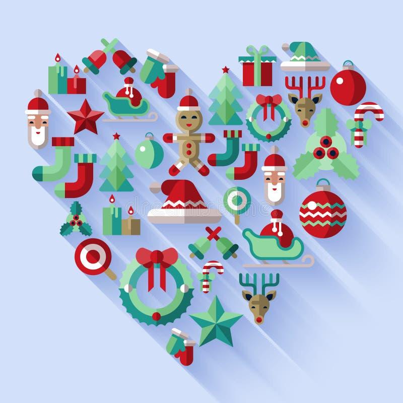 Julsymbolshjärta stock illustrationer